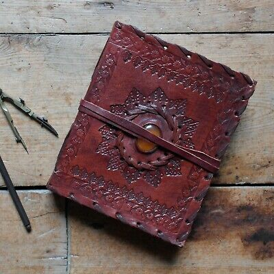 """6"""" x 5"""" Handmade Leather Embossed / Stone Journal Sketchbook Diary 2nd's Quality"""