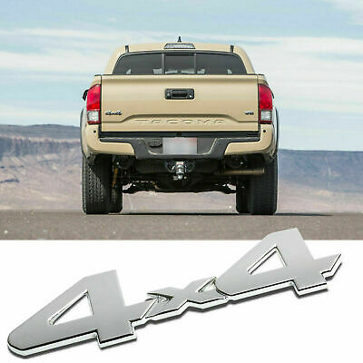 4x4 Silver Badge Logo Tailgate Trunk Emblem Aluminum Alloy For Toyota Tacoma TRD