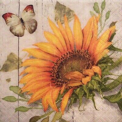 paper napkins decoupage x 2 vintage sunflower 25cm