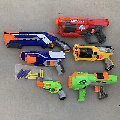 Lot of 6 Nerf Guns - Mega, Roughcut, Maverick, Disrupter, Doublestrike pistol +