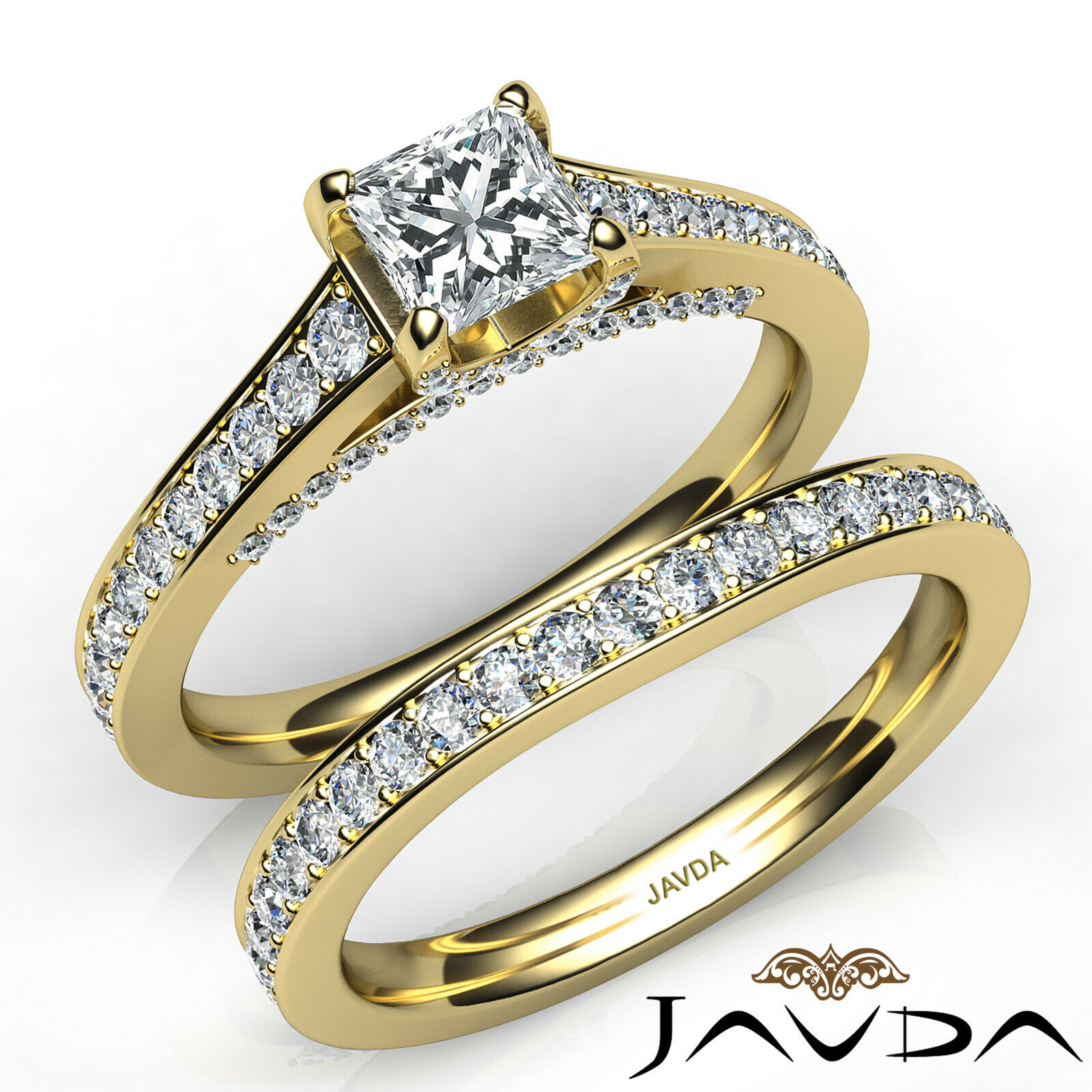 2.05ct Accent Bridge Pave Bridal Princess Diamond Engagement Ring GIA F-VS2 Gold 8