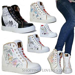 SCARPE-Donna-Sneakers-Sportive-Ginnastica-Glitter-Fiori-Rialzo-INTERNO-7-Cod-S66