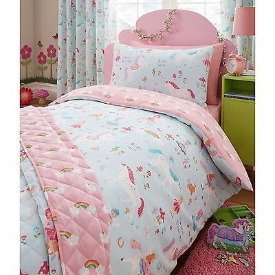 MAGICAL UNICORN FAIRY JUNIOR DUVET COVER SET PINK TODDLER BED BEDDING FREE P+P