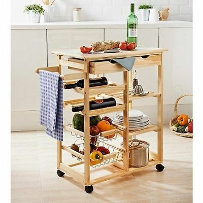 Home Wooden Pine Tile Top Kitchen Trolley