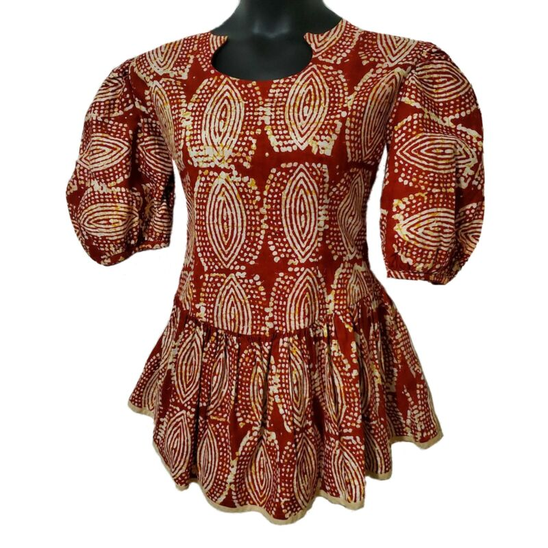 African Print Women Maroon Flair Out Blouse
