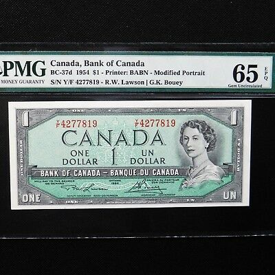 1954 Canada, Bank of Canada $1, BC-37d, PMG 65 EPQ Gem Unc.