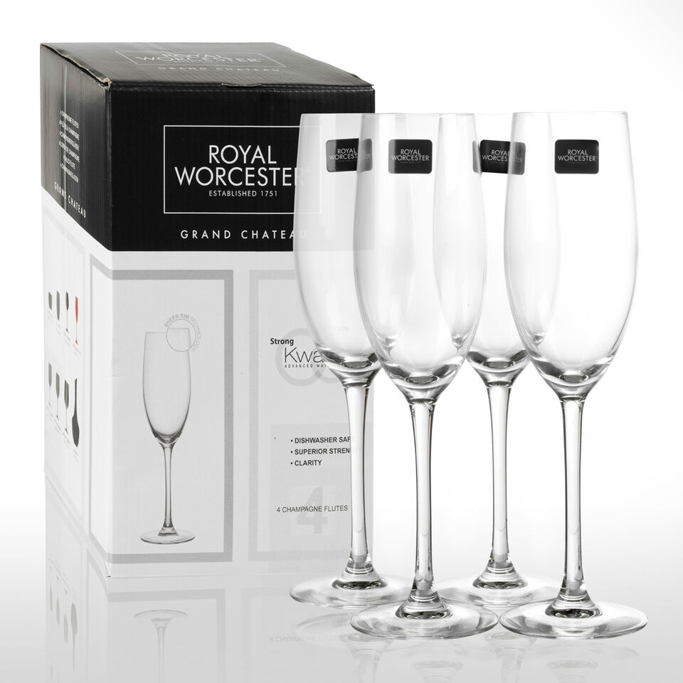 4 x Royal Worcester Grand Chateau Kwarx Champagne Flutes Glassware Glasses Toast