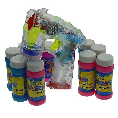 Bubble Gun Seifenblasenpistole LED / Sound mit 10x Seifenbehälter Seifenwasser