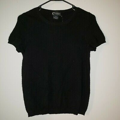 C By Bloomingdales Womens Black Cashmere Sweater 2-Ply Short Sleeve M