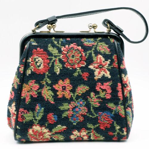 Small Vintage Black Floral Tapestry Carpet Bag Purse Handbag