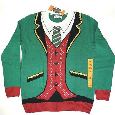 Ugly Holiday Sweater Mens Size XXL Christmas Party Multicolor Green Suit Vest ()