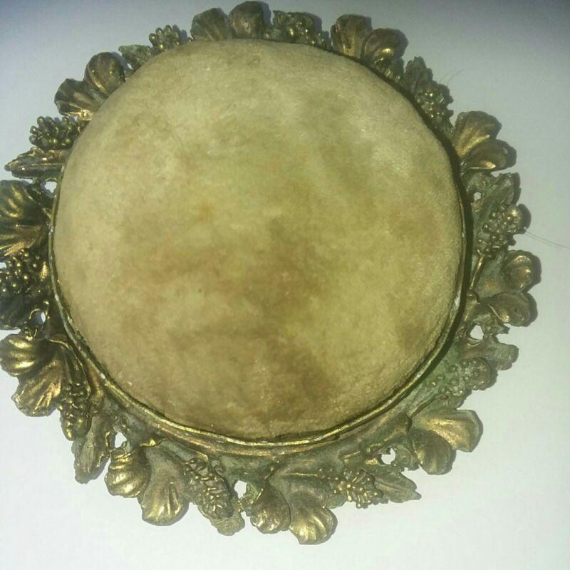 Vintage Antique?Brass velvet Hat pins,Pins  Pincushion