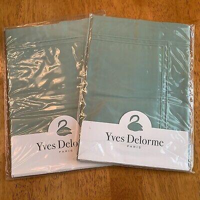 """2 Yves Delorme TRIOMPHE Celadon (Green) BOUDOIR Pillow Shams 12"""" x 17"""" NEW"""