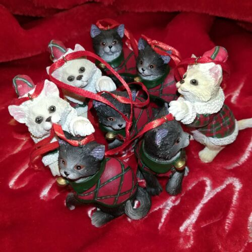 9 Set/Lot - CATS in SWEATERS Christmas Ornaments - Black & White Kitty Figurines