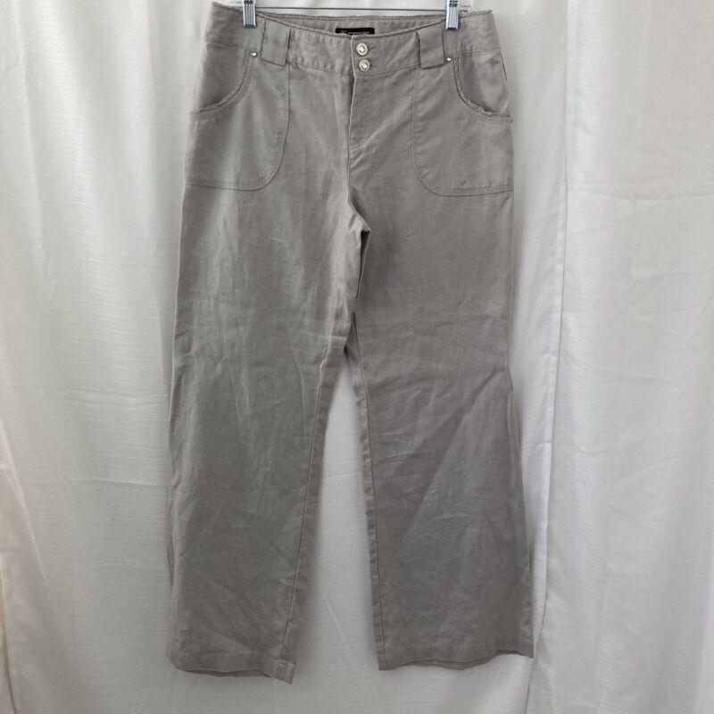 INC International Concepts Womens Gray 100% Linen Pants Size 10