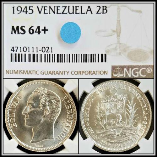 1945 Venezuela 2 Bolivares NGC MS 64+ Unc BU Choice Uncirculated 2B Silver Coin