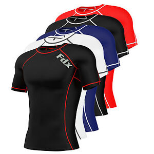 FDX-Mens-Compression-Armour-Base-Layer-Top-Half-Sleeve-Thermal-Gym-Sports-Shirt