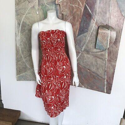 J. McLaughlin Red White Floral Strapless Dress Size Medium