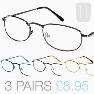 THREE-PAIRS-QUALITY-NEW-RIMMED-READING-GLASSES-GUN-METAL-GOLD-BROWN-BLUE