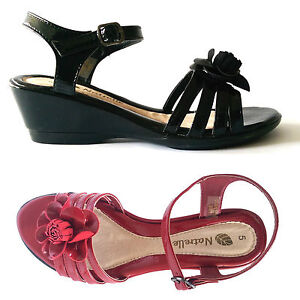 Womens-Ladies-Leather-Wedge-Heel-Ankle-Strap-Summer-Strappy-Sandals-Shoes-Size