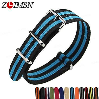18mm 20mm 22mm 24mm Woven Sports Watchband Nylon Watch Strap Wristwatch Band 3 R