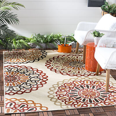 Red Floral Outdoor Rug (Cream / Red Modern Indoor / Outdoor Floral Area Rug -)