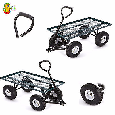 Heavy Duty Utility Cart Garden Wagon Lawn Wheelbarrow Steel Trailer Yard Gift