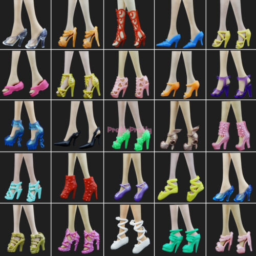 20Pcs=10 Pairs Party Daily Dress Outfits Clothes Shoes For 12 in. Doll Accessory