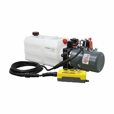Single Double Hydraulic Pump For Dump Trailer Kti - 12vdc - 6 Quart Reservoir