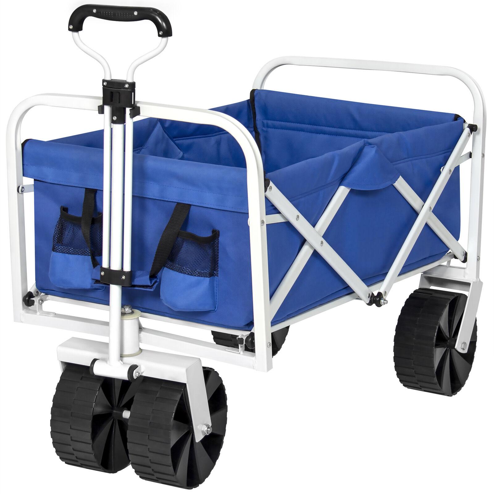 BCP Folding Utility Wagon Garden Beach Cart w AllTerrain Wheels  Blue