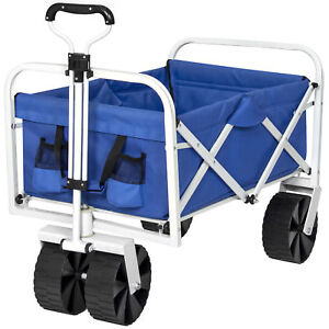 Folding Utility Wagon Garden Beach Cart All-Terrain Wheels Removable Cover- Blue