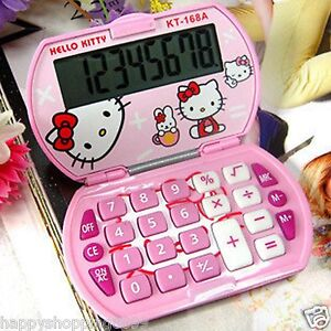 New Cute Pink Hello Kitty Foldable Pocket Basic Electronic Calculator 8 Digitals