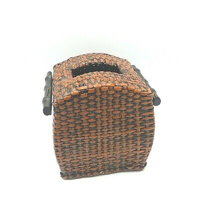 Wooden Wicker Tissue Box Cover Dispenser Rustic Country Cabin Square Brown 6x6 Country Tissue Dispenser