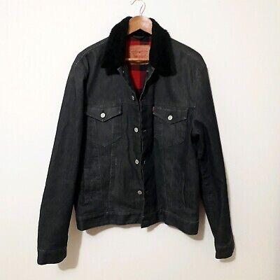 Levis Mens Denim Trucker Jacket L Shearling Borg Sherpa Fur Collar Charcoal Grey