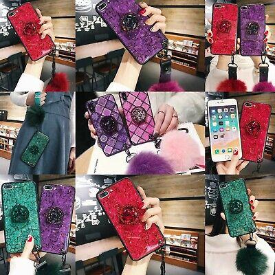 Luxury Bling Diamond Crystal Pom Pom  Ring Holder Stand Case Phone Cover iPhone  Crystal Pom Poms