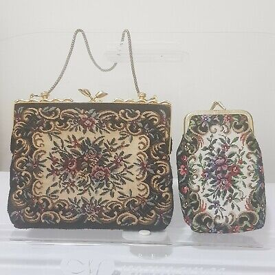 1950s Handbags, Purses, and Evening Bag Styles Vintage tapestry bag /purse and coin holder. Snap closure. Floral tapestry black $36.70 AT vintagedancer.com