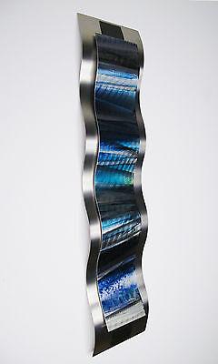 - Modern Abstract Metal Wall Sculpture Art Blue Tropical Painting Home Decor New