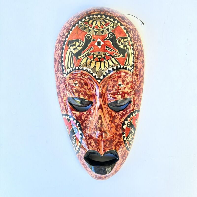 Vintage African pearl inlay handcarved / painted mask