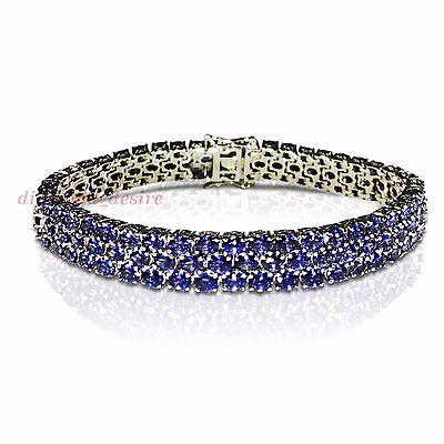 DISPLAY Three Row 30ct Tanzanite White Gold on Sterling Silver Tennis 3 Bracelet
