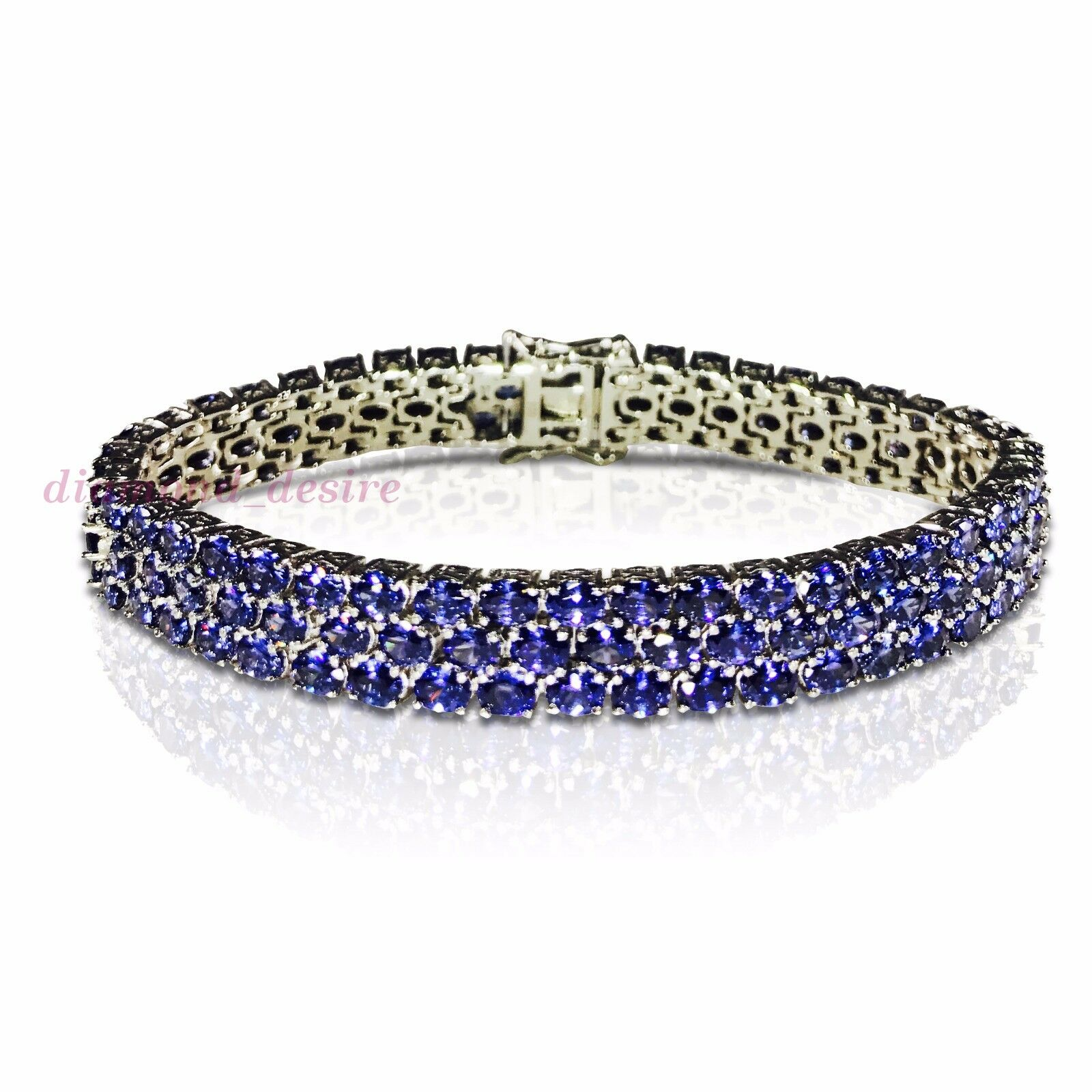 Three Row 30ct Aaa Tanzanite White Gold On 925 Sterling