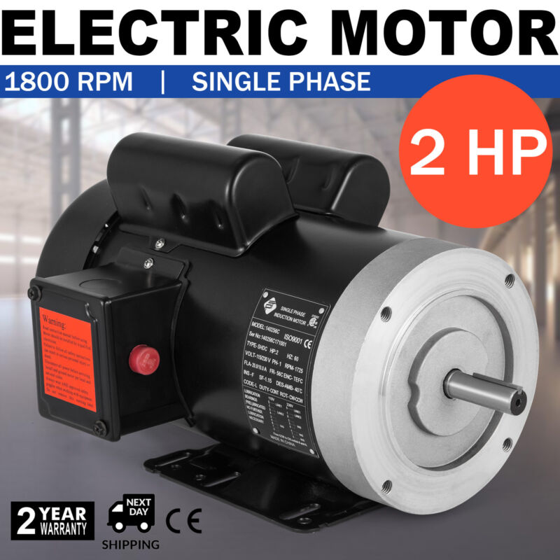 "NEW Electric Motor Single Phase 2HP 230V 1800 RPM  TEFC  5/8""shaft"