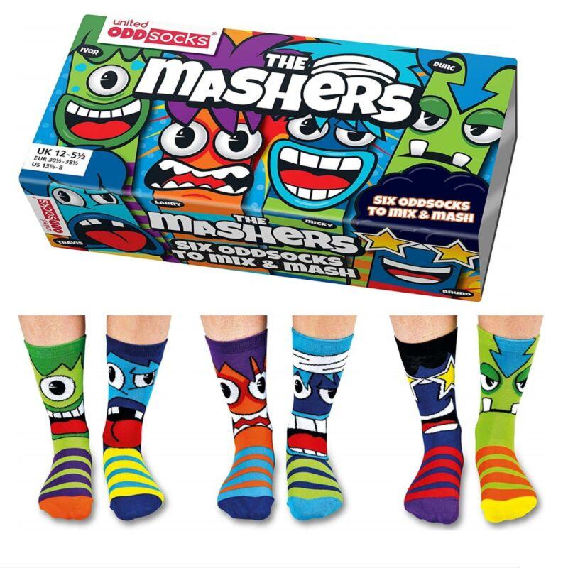 United Oddsocks 12 - 6 UK Set Of 6 Mashers Fun Character Faces Odd Socks Boys