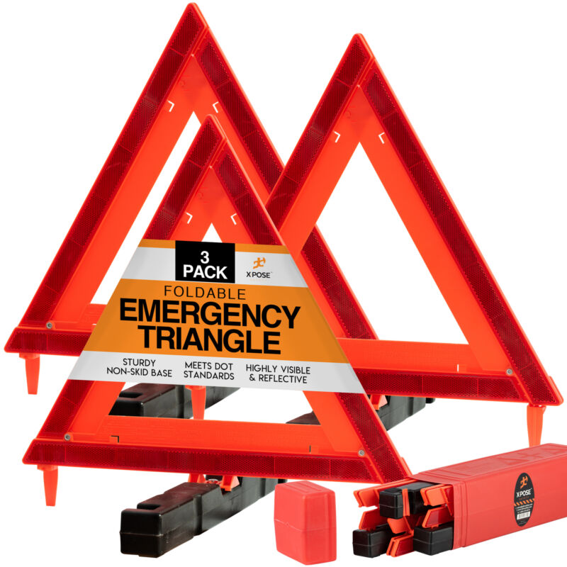 Reflective Emergency Triangles 3 Pack - Roadside Car Safety and Warning Tool