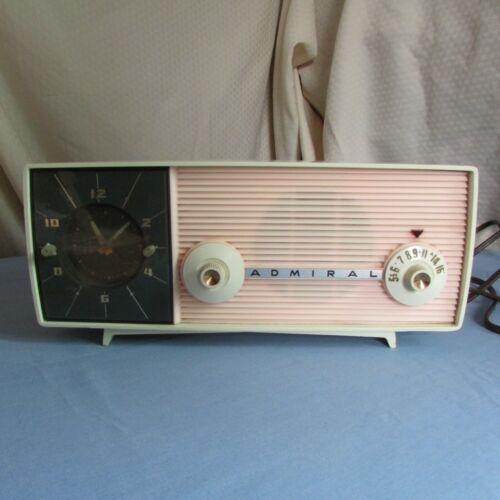 Vintage PINK ADMIRAL Tube Clock RADIO - Retro - Mid Century modern Movie prop