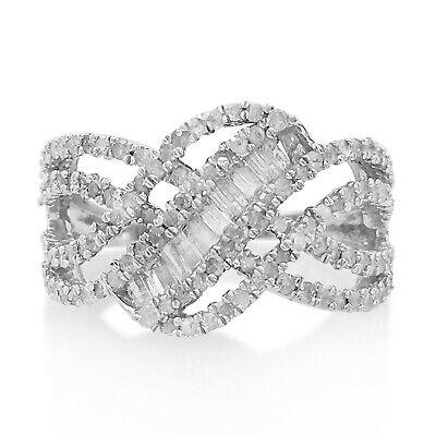 1.00Ct Baguette Cut Natural Diamond Swirl Engagement Ring Sterling Silver Size 7 Baguette Diamond Swirl Ring