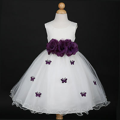 Ivory/Plum Purple Bridesmaid Wedding Flower Girl Dress 6M 12M 18M 24M 2 4 6 8 10 - Plum Girls Dresses
