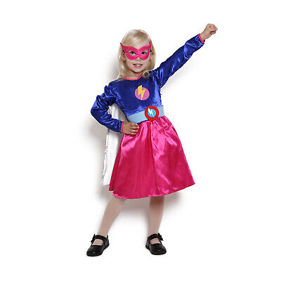 Kids Girls Superhero Costume Cape Mask Fancy Dress Cloak Comic Book Wonder Woman