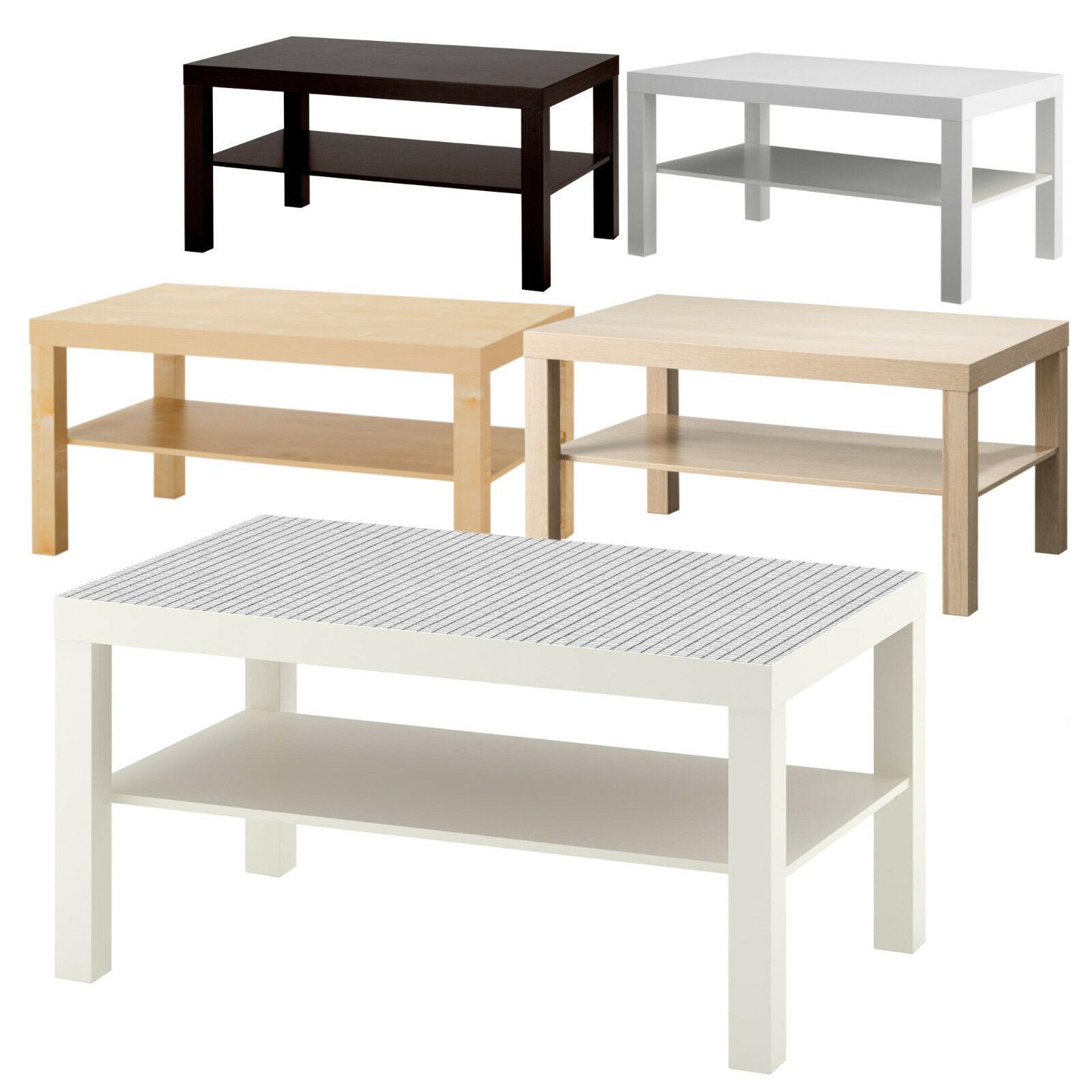 Ikea Lack Beistelltisch 90x55 cm Weiß Schwarz Birke Couchtisch Wohnzimmertisch