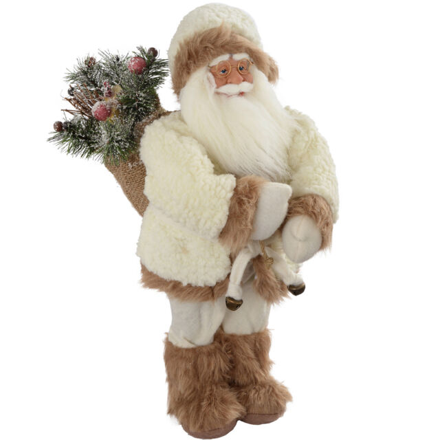 Standing Santa with Gift Sack in a White & Brown Fur Outfit Decoration Size 30cm