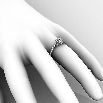 Cathedral Split Shank Round Diamond Engagement Pave Set Ring GIA D VS1 0.85 Ct 9